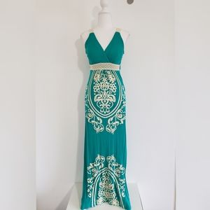 Just Love long maxi teal with crochet dress size M